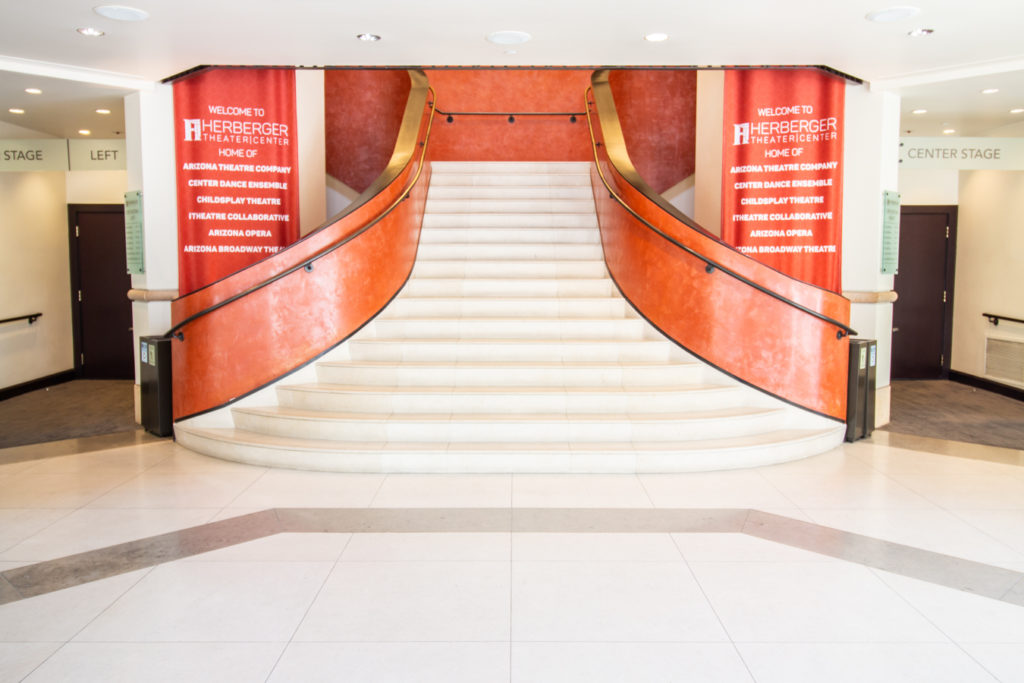 image of herberger lobby with stairs ascending at center